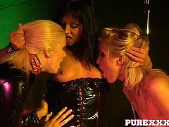 Kinky lesbian slaves in the dungeon with their mistress
