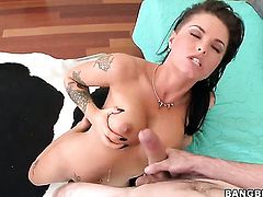 Christy Mack is licking a dick