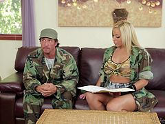 Tommy is a soldier being interviewed by Olivia. Part of this interview includes getting her giant tits out, getting on her knees, slurping on his cock and letting him get a few strokes between her huge melons. Olivia is the best at boosting morale in the service, and now we see exactly why.