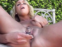 Lexi Swallow with shaved cunt does striptease before she sticks vibrator in her love box