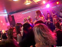 Girls dancing, kissing, giving head and fucking at a party