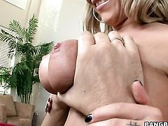 Blonde Jessica Moore satisfies dudes sexual desires and then gets cum drenched