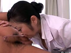 Head nurse Minako wants to make sure all her patients feel amazing, so she makes her rounds and helps them release any pent up sexual frustration. This patient is lucky to be kissed and have his nipples licked. She even sucks him off and rims his asshole.