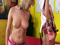 It's blonde on blonde as two horny lesbians lick pussy