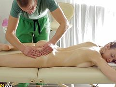 Margarita is helped to relax by a passionate masseur, who wants to cover every inch of her lovely skin with oil and rub it mildly. Click to watch this Russian babe naked, while she's spreading legs to show her shaved sexy cunt.