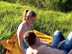 Couple in Love have Outdoor Fun