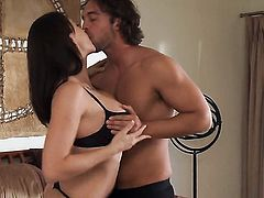 Brunette gal gets pleased by her man