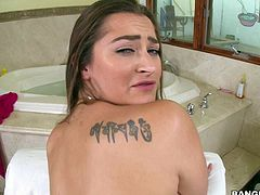 Attractive brunette Dani Daniels with natural titties and bubbly ass gets her meaty pussy banged from your point of view in the bathroom. She gets shagged with legs apart and doggy style.