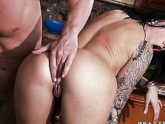 With huge breasts knows no limits when it comes to fucking with hard dicked dude Johnny Sins