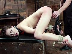 It hurts, but it also feel so good as this slut has a clothespin attached to her pussy. She is gagged, so the master doesn't care is she is trying to scream. How much painful humiliation can she handle? Her cunt is ready for a hard fuck.