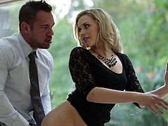 This seducing blonde lady looks simply gorgeous wearing black. Click to watch naughty Mia, playing dirty with a passionate lover. Once horny Johnny uncovers her sexy ass, the atmosphere gets even hotter. See this couple fucking with a lusty desire!
