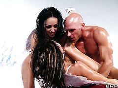 Johnny Sins explores the depth of breathtakingly beautiful Jenni Lee  Breanne Bensons throat with his worm