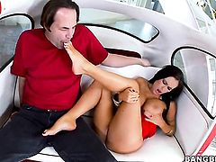 Brunette Jenna Presley with gigantic hooters gets cum drenched after sex with hot guy