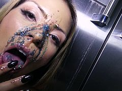 This Latina goddess felt like getting kinky in the kitchen. She poured whipped cream all over her face and tits, just to tease me. She is certainly a very naughty and bad girl. The sprinkles on her mouth looked so tasty, and she sucked me off sensually.