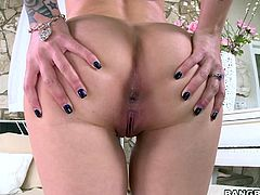 A frivolous blonde babe, wearing hot tattoos inked on her flawless skin, is eager to show her lovely buttocks to a horny partner. Click to watch the passionate lover, eating slutty Stevie's appetizing shaved cunt, and rimming her perfect ass.