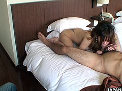 Asian slut Manami has a hot time as she gets fucked deep and hard yet slow so she feels his cock in full effect. She has her boobs erect and the dude is so excited.