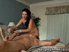 Samantha Ryan does her best to make hard cocked dude Anthony Rosano cum