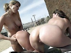 Adrianna Nicole offers her fuck hole to lesbian Amy Brooke