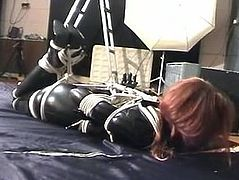Jade Bound, Gagged and Blindfolded in PVC Latex Suit w/ vibrator