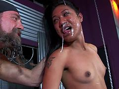 Super sloppy cocksucking from Asian porn whore Lyla Lei