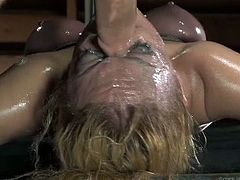 This helpless blonde whore is getting face fucked like never before