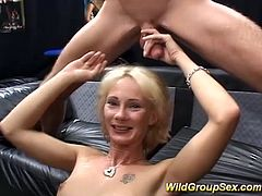 blonde horny german Milf in a extreme bukkake groupsex sperm and fuck groupsex orgy