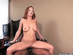 Gabriella Banks takes mans cum loaded sausage in her slit in interracial porn action