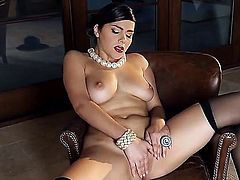 Big titty brunette Valentina Nappi plays with her coochie