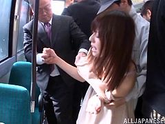 She is groped on the bus by a bunch of horny men. Before long they have stripped her naked of all her clothes and are fingering her deeply. She loves to be gangbanged like a slut in public. She is eaten out and sucks cock.