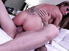 Capri Cavanni asks hot guy to insert his meat stick in her mouth