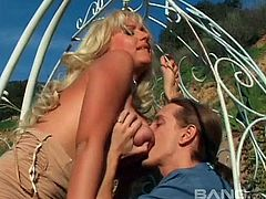 Big tit blonde MILF cheats on her husband and gets fucked outdoors