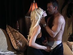 Tanya James gets her mouth stretched by guys hard tool