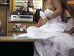 Beautiful blonde slut pawns her wedding dress and banged