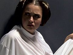 Naughty small titted brunette Allie Hazei white boots pulls her panties aside and rubs her wet pussy hard in Star Wars porn parody. She cant keep her hands off her hot twat.