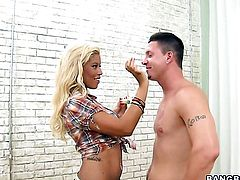 Blonde Bridgette B with phat booty asks her fuck buddy to shove his erect snake in her mouth