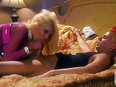 Donna Doll makes guy happy by blowing his hard fuck stick