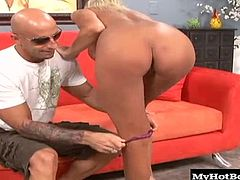 MILF Misty Vonage, ever since she fucked the pizza deliveryman and he told all the guys back at the shop. She has a totally shaved pussy and a pair of massive knockers that are at least ten pounds each. She loves riding on top so she can get an orgasm before sucking dick for a facial.