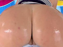 Krissy Lynn is a blonde that is having her large ass oiled and also licked. She gets an anal gangbang in this video. She also does some face sitting and is cumshot.