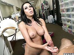 Brunette Rachel Starr with massive boobs and smooth snatch jerks beefy meat stick like craze before