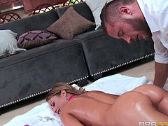 Kendall is getting a massage from Danny, and it starts innocently enough. Danny's fiance is rambling on and on about their upcoming wedding, while cooking dinner. Meanwhile, Danny's fingers are rubbing Kendall's pussy. She manages to stifle her moans, until she leaves to go get wine. It's getting hot!