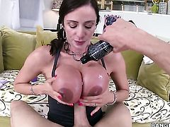 Brunette Ariella Ferrera with round butt cant wait to take handsome dudes rock hard man meat in her hands