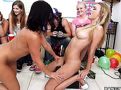 Rachel Starr with phat bottom gets treated like a fuck toy by horny lesbian Jessica Bangkok