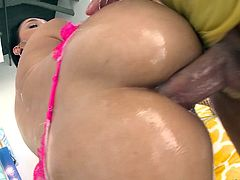 Big wet dick goes down her throat and into her asshole