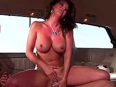 Raquel Devine is a hot milf with delicious curves. Here her ass gets an anal gangbang. She loves fucking in the back of a van. The danger of being caught turns her on.