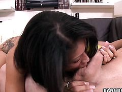 Brunette Jamie Valentine with phat bottom gets covered in cock cream after sex with horny dude