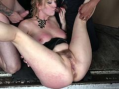 Cherry has got her pussy, mouth and hands full with all these guys around her, screwing her with every ounce of lust they have, as well as every inch they have. You'd think that would be enough for her, but apparently it isn't. She has her vibrator out, pressed firmly against her clit as well.