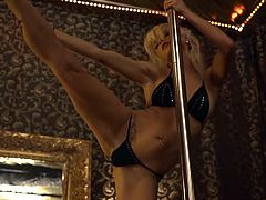 Mia Magma has a stunning body and we all like to see it! We managed to squeeze our stunning star, Mia Magma into Swingers club where she performed an arousing strip to the horny hosts.