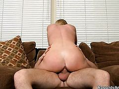 Brynn Tyler gets the hole between her long legs poked by Dane Cross in front of the camera