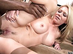 Mark Anthony stretches irresistibly sexy Ashley Winterss mouth with his beefy cock to the point of no return after anal sex