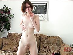 Brunette exotic Jay Taylor with tiny boobs spends time dildoing her twat for cam
